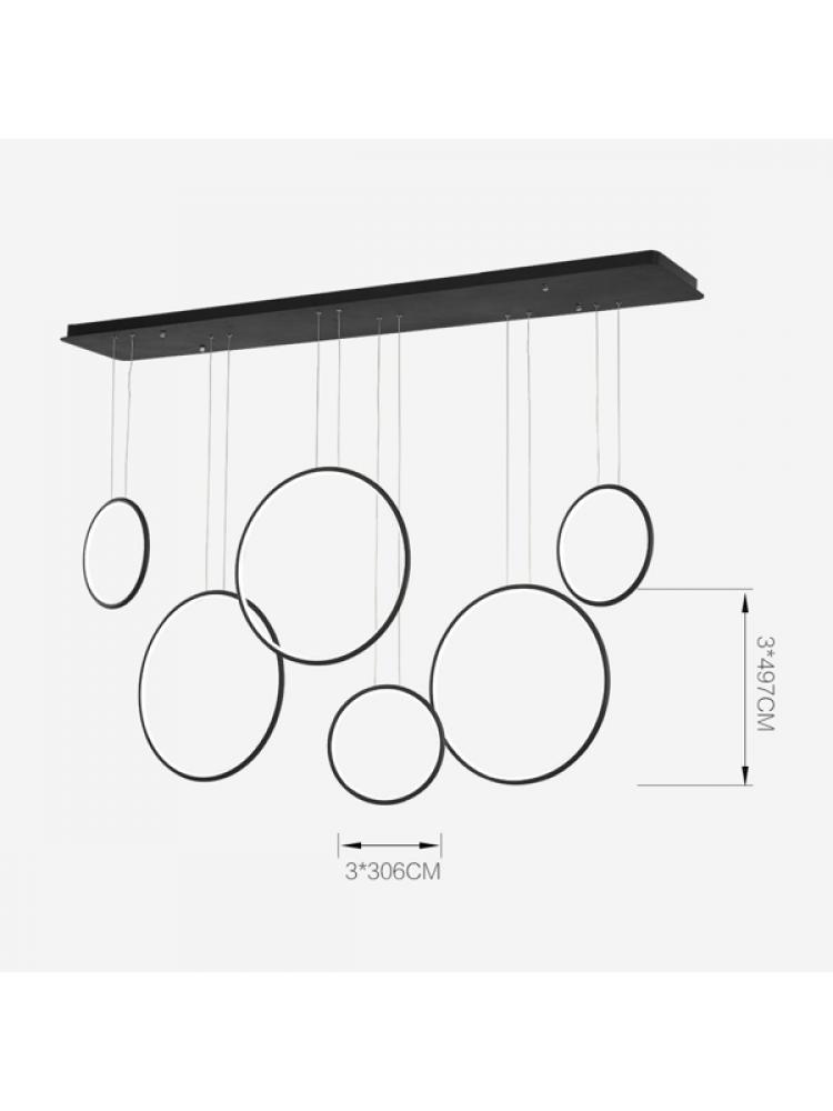 Pakabinamas šviestuvas LED apskritimai Nr. 8 juodi 180 cm 4000K