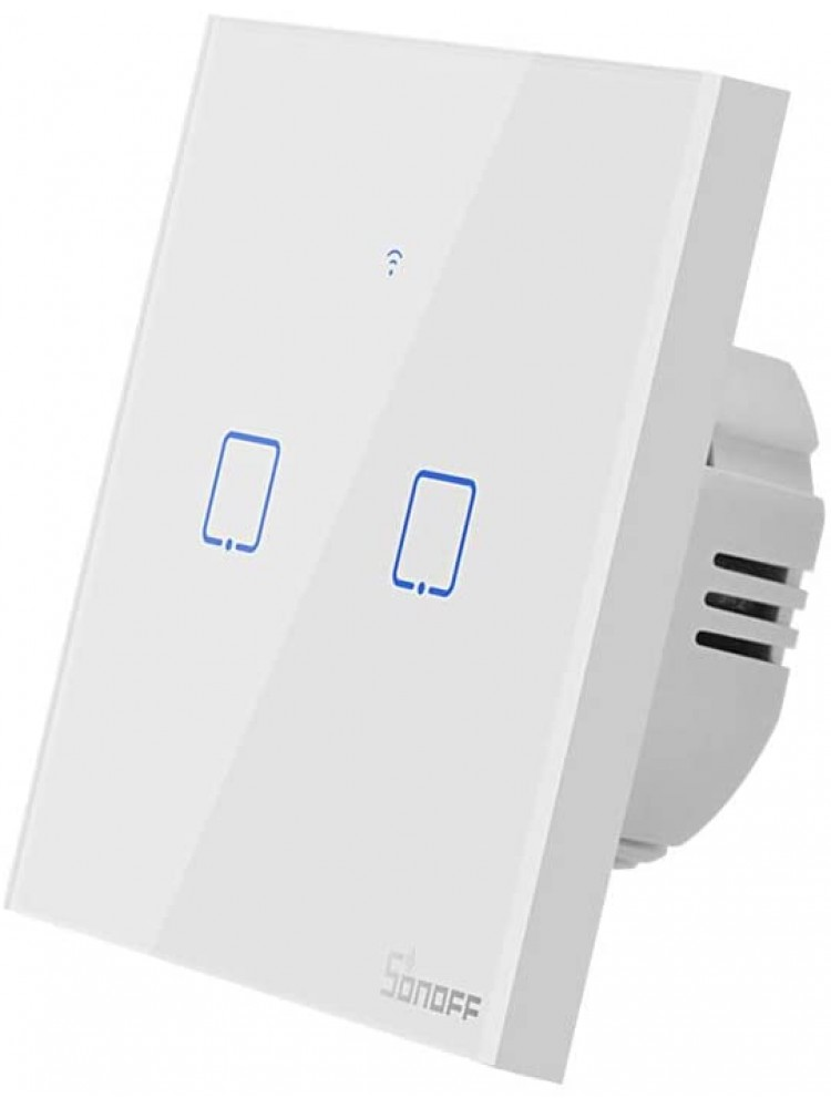 Išmanusis liečiamas sieninis jungiklis SONOFF T0EU2C-TX, 2 kanalų, 480W/1 kanalui, 960W/viso, 230VAC, valdomas liečiamu mygtuku, programėle, Wi-Fi