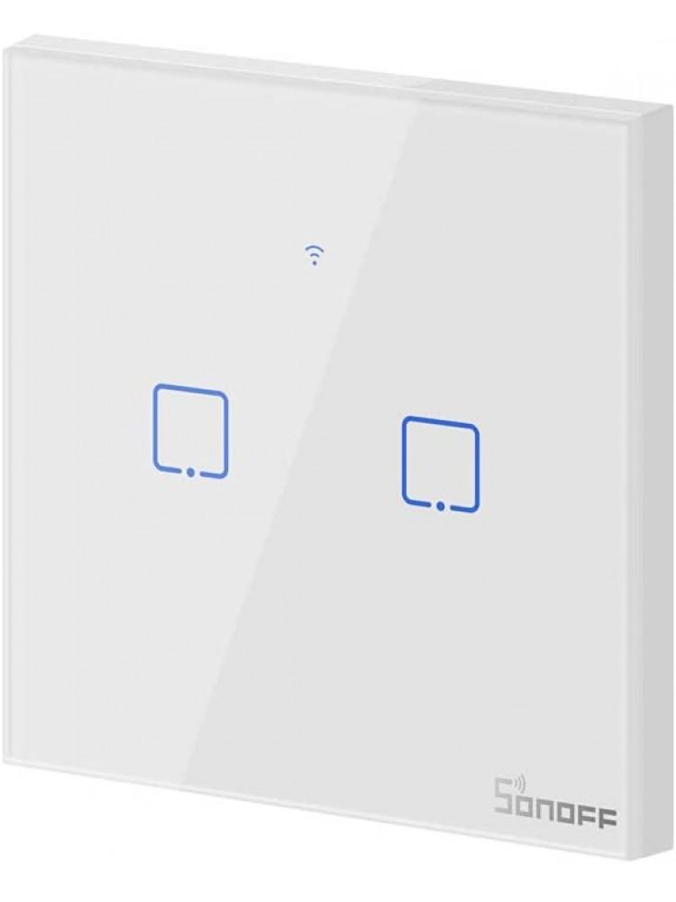 Išmanusis liečiamas sieninis jungiklis SONOFF T2EU2C-TX, 2 kanalų, 480W/kanalui, 960W/viso, 230VAC, valdomas liečiamu mygtuku, programėle, Wi-Fi, galimybė valdyti  SONOFF pulteliu
