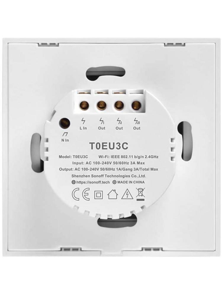 Išmanusis liečiamas sieninis jungiklis SONOFF T3EU3C-TX, 3 kanalų, 240W/kanalui, 720W/viso, 230VAC, valdomas liečiamu mygtuku, programėle, Wi-Fi, galimybė valdyti  SONOFF pulteliu