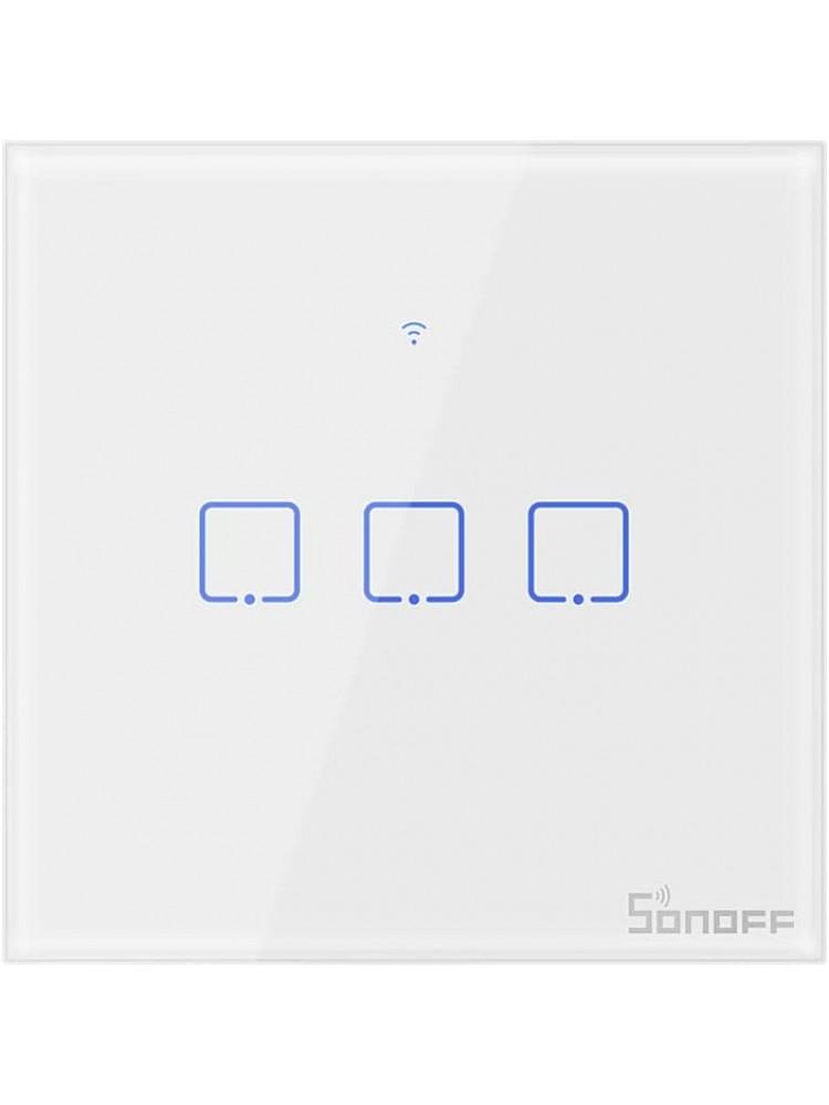 Išmanusis liečiamas sieninis jungiklis SONOFF T2EU3C-TX, 3 kanalų, 240W/kanalui, 720W/viso, 230VAC, valdomas liečiamu mygtuku, programėle, Wi-Fi, galimybė valdyti  SONOFF pulteliu