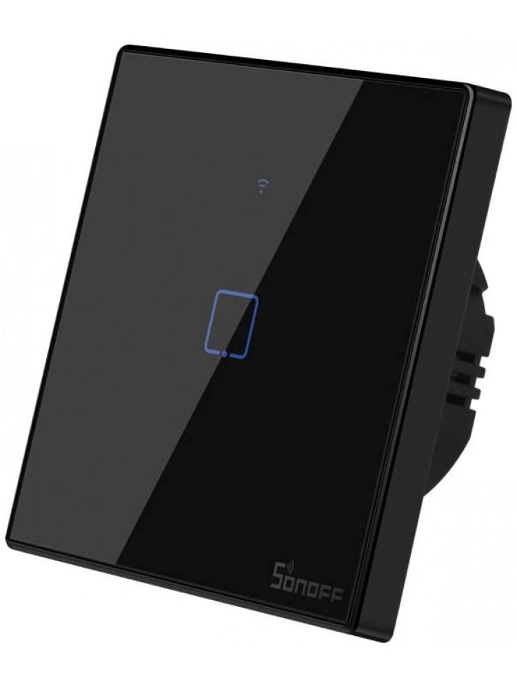 Išmanusis liečiamas sieninis jungiklis SONOFF T3EU1C-TX, 1 kanalo, 480W, 230VAC, valdomas liečiamu mygtuku, programėle, Wi-Fi, galimybė  valdyti SONOFF pulteliu