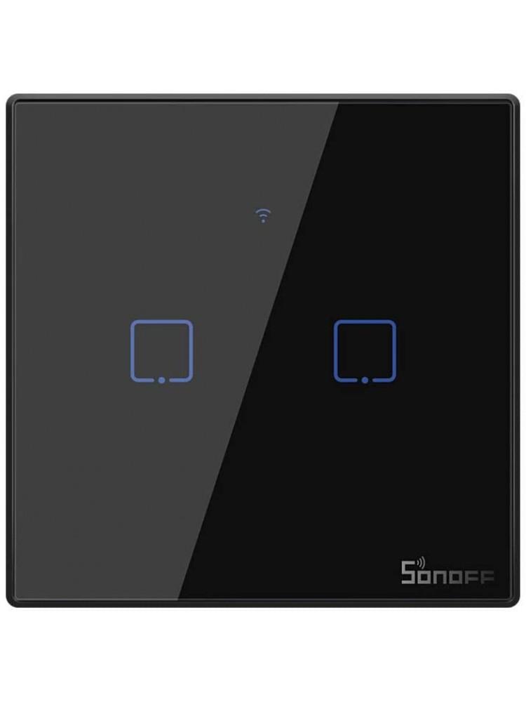 Išmanusis liečiamas sieninis jungiklis SONOFF T3EU2C-TX, 2 kanalų, 480W/kanalui, 960W/viso, 230VAC, valdomas liečiamu mygtuku, programėle, Wi-Fi, galimybė valdyti  SONOFF pulteliu