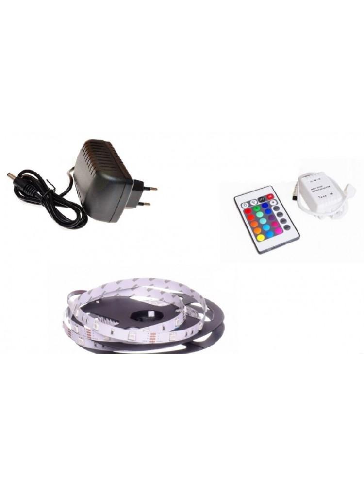 LED juosta RGB  5m BASIC + valdiklis + maitinimo šaltinis