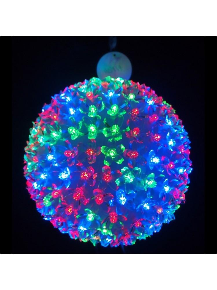 50 LED kamuolys 10cm diametro, įvairių spalvų