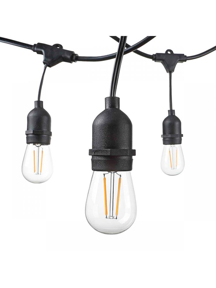 Girlianda 15vnt. x E27  lempučių laikiklis su EURO jungtimi , lauko sąlygoms IP65