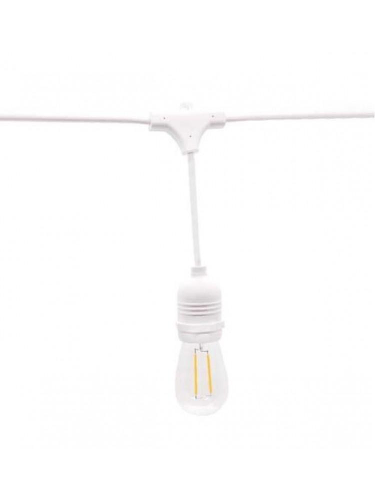 Girlianda 10vnt. x E27  lempučių laikiklis su EURO jungtimi , lauko sąlygoms IP65