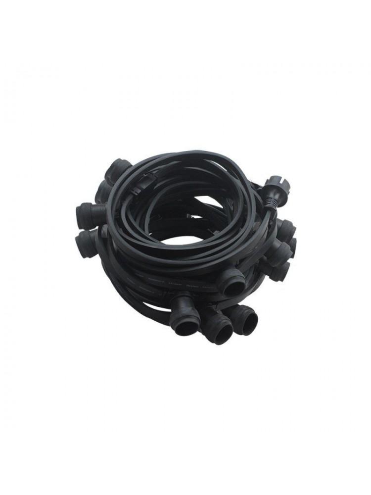Girlianda, 20m, 40 E27 lempučių lizdų, juoda, atspari drėgmei IP44