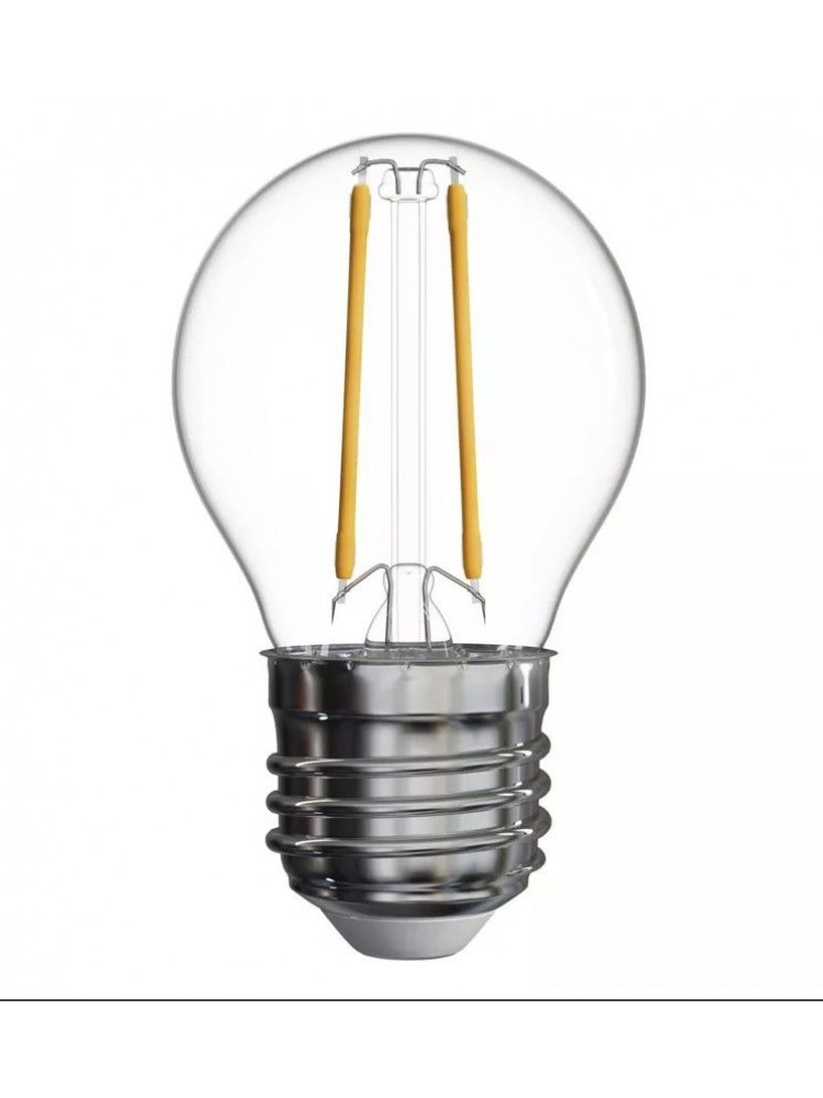 Lemputė E27 230V G45 2W, FILAMENT, šiltai balta 2700K, stiklinė