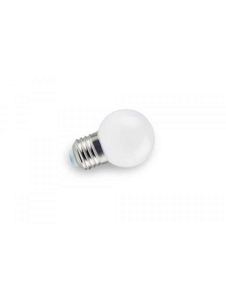 Lemputė E27 230V G45 1W, šiltai balta, plastikinė