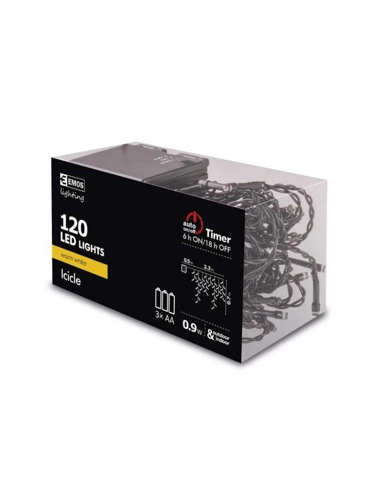 LED girlianda/užuolaida maitinama baterijomis, 3 x AA, 2.3x0.7m, 120 x LED, šiltai balta,