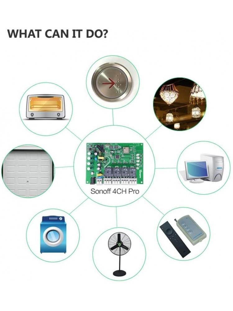 SONOFF 4CH PRO R2, 4 kanalų, 2200W / 1 kanalui, 90-250VAC / 5-24VDC išmanusis jungiklis, valdomas programėle, Wi-Fi, galimybė valdyti balsu ir SONOFF pulteliu (pultelis į komplektaciją neįeina)