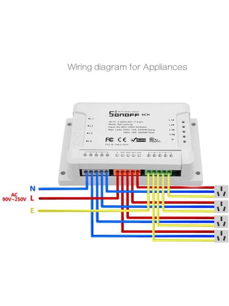 SONOFF 4CH R2, 4 kanalų, 2200W / 1 kanalui, 230VAC išmanusis jungiklis, valdomas programėle, Wi-Fi, galimybė valdyti balsu