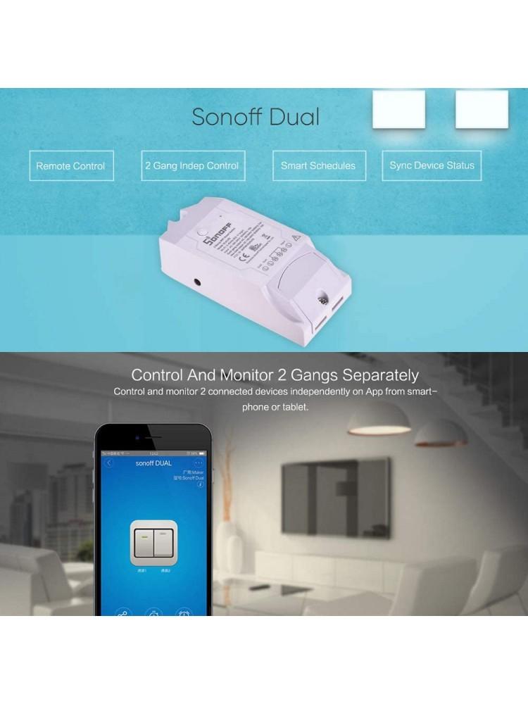 SONOFF DUAL R2 išmanusis jungiklis, dviejų kanalų, 3500W(2 kanalai), 2200W(1 kanalas), 230VAC, valdomas programėle, Wi-Fi, galimybė valdyti balsu