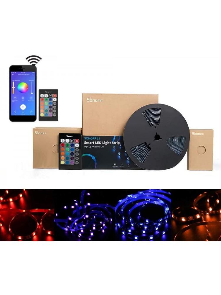 SONOFF L1 5M, 24W, 300lm/m, 230VAC išmanioji LED RGB juosta , juosta IP65, valdoma programėle, Wi-Fi, pulteliu, galimybė valdyti balsu, komplektacijoje yra LED juosta, valdiklis, pultelis ir maitinimo šaltinis