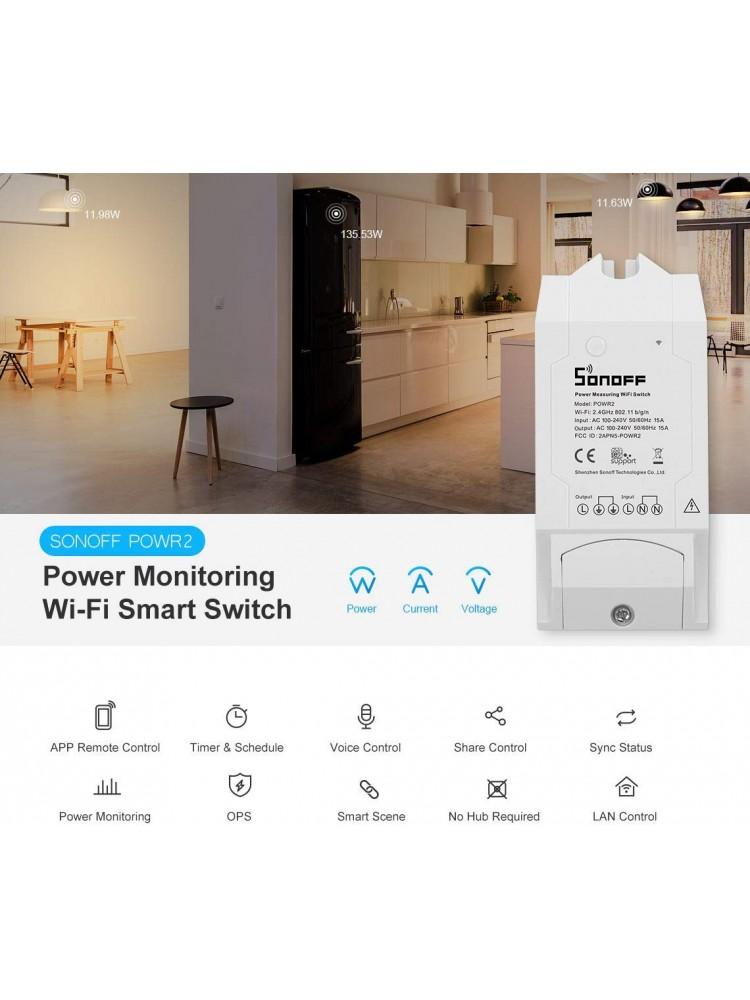 SONOFF POW R2, 3500W, 230VAC išmanusis elektros energijos apskaitos jungiklis su ribojimo galimybe , valdomas programėle, Wi-Fi, galimybė valdyti balsu