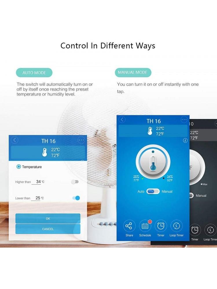 SONOFF TH10, 2200W, 230VAC išmanusis jungiklis su temperatūros bei drėgmės stebėjimu, valdomas programėle, Wi-Fi, galimybė valdyti balsu, (reikalingas papildomas sensorius Si7021/DS18B20)