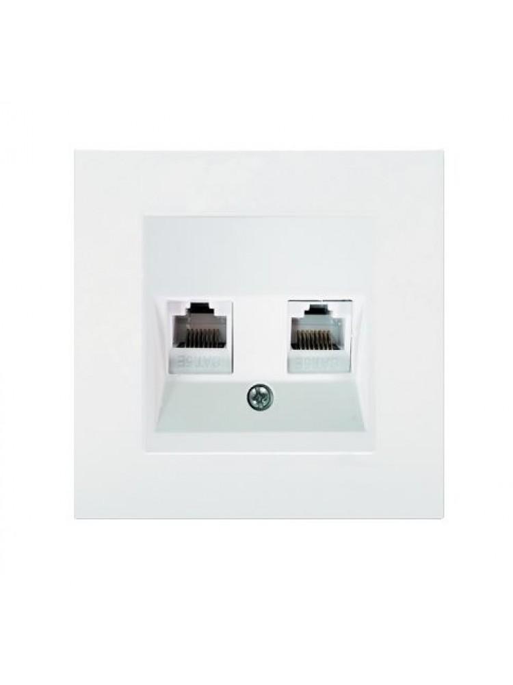 Dviejų kompiuterių lizdas  1XRJ45 6e kategorija