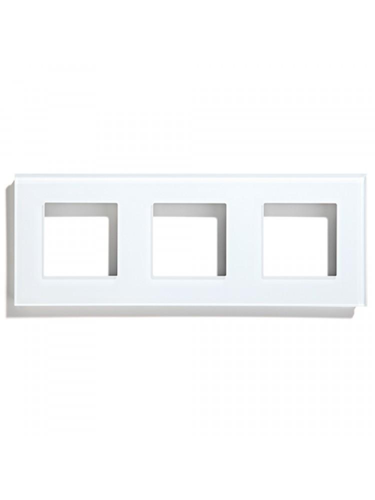 Trivietis stiklo rėmelis (baltas)