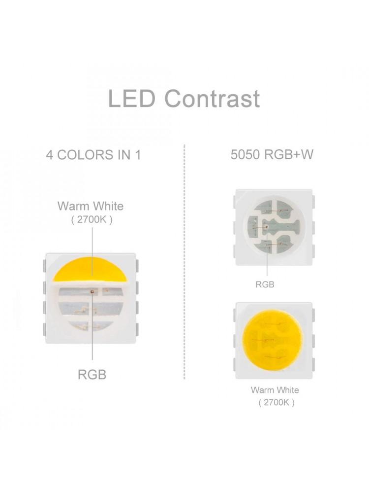 LED  RGB+W (šaltai balta) 14,4W/m, IP20 , 4 in 1