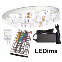 LED juosta RGB  5m PLUS + valdiklis+maitinimo šaltinis