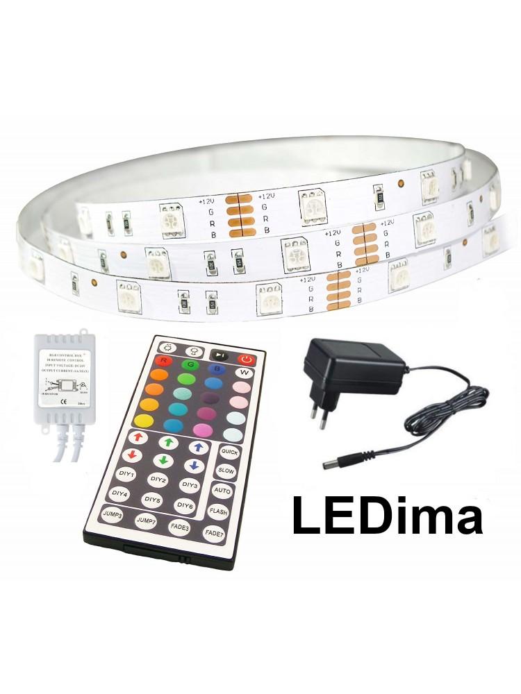 LED juosta RGB  3m PLUS + valdiklis+maitinimo šaltinis