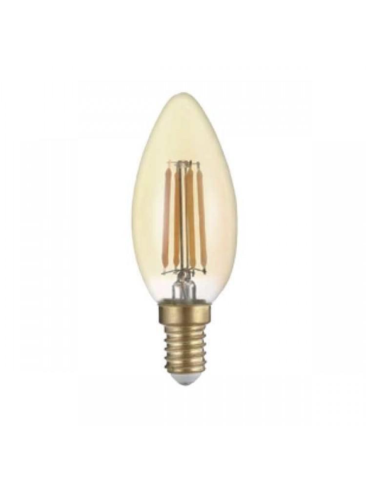 LED lemputė 4W su gintariniu paviršiumi GOLDEN GLASS  E14 C352500K (šilta šviesa) Filament