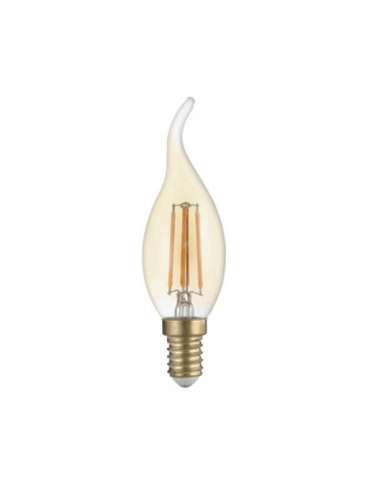 LED lemputė 4W su gintariniu paviršiumi, žvakės forma,  GOLDEN GLASS  E14 T352500K (šilta šviesa) Filament
