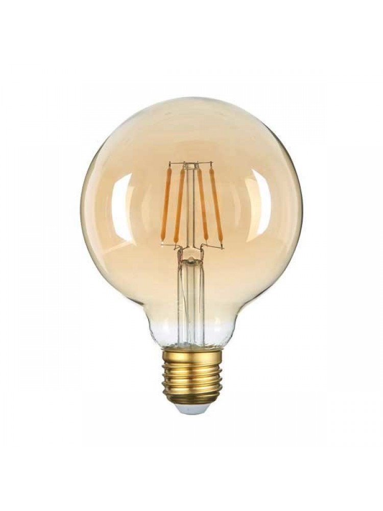 LED lemputė 4W su gintariniu paviršiumi GOLDEN GLASS  E27 G602500K (šilta šviesa) Filament