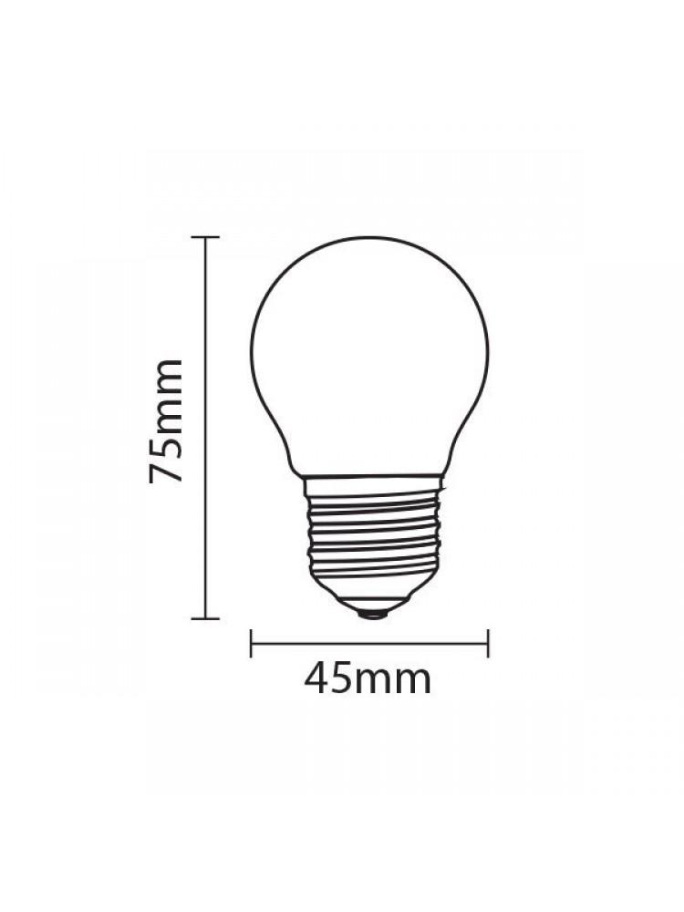 LED lemputė 4W E27 G45 4500K  (dienos šviesa)  Filament