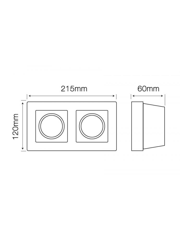Įmontuojamas šviestuvas, priglaistomas, gipsinis, 2 x GU10 , kvadratinis