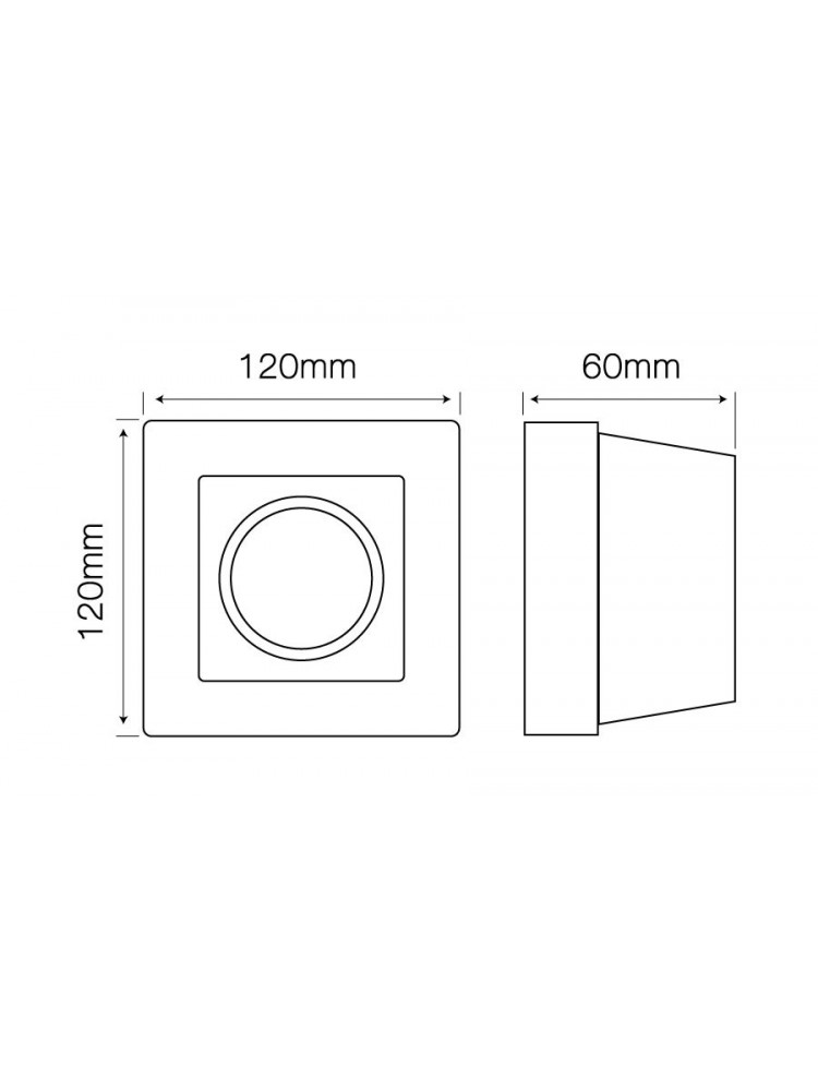 Įmontuojamas šviestuvas, priglaistomas, gipsinis, GU10 , kvadratinis