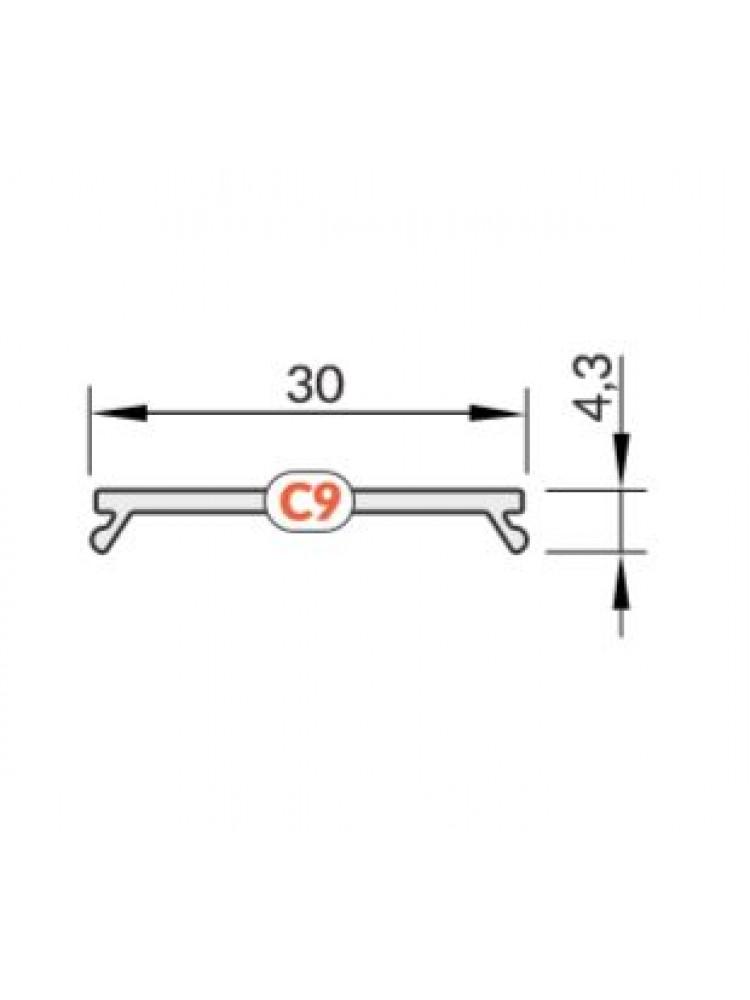LED juostos profilio dangtelis VARIO30 C9 KLIK, skaidrus