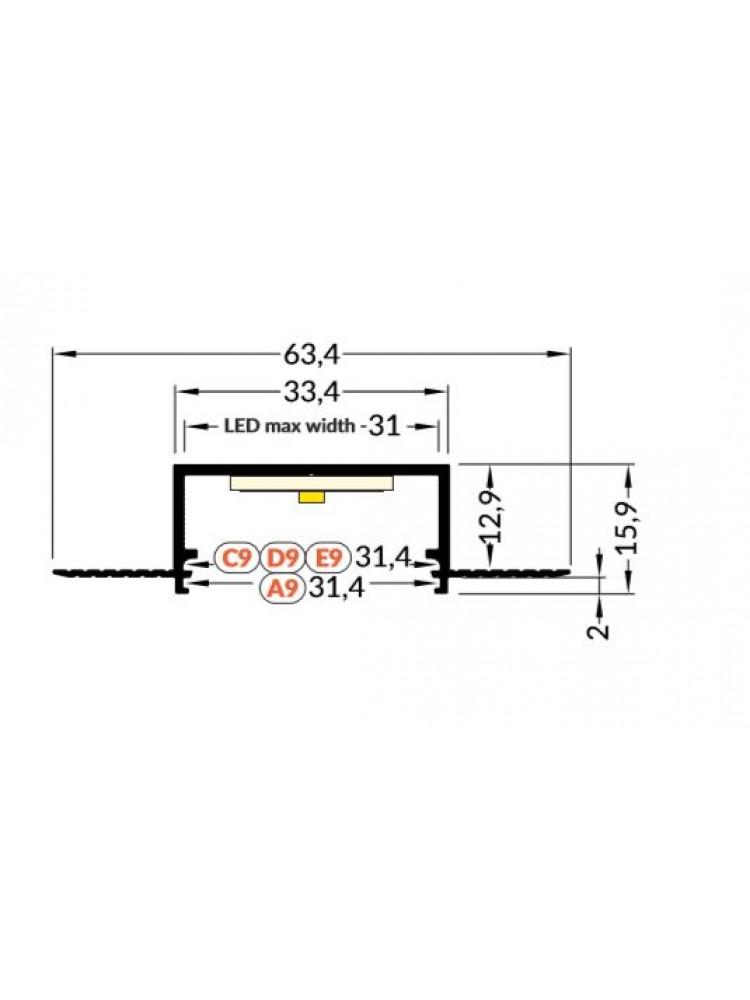 Profilis užglaistomas  VARIO30-04, anoduotas 2m komplektas