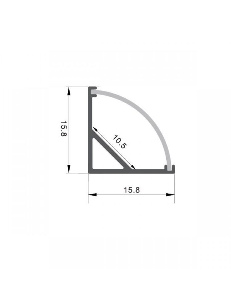 Profilis  kampinis 2m + dangtelis 2m + laikikliai 4vnt. (komplektas)