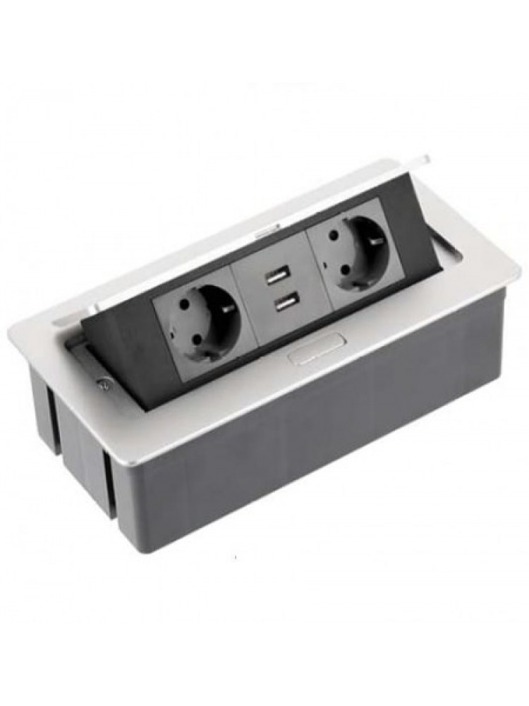 Įleidžiamas ilgintuvas, baldinis, rozetė 2-jų lizdų su 2x USB