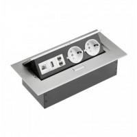 Įleidžiamas ilgintuvas, baldinis, rozetė 2-jų lizdų su USB, RJ-45 tinklo jungtim ir AUDIO lizdu 3,5mm