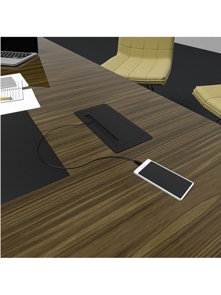 Įleidžiamas ilgintuvas, baldinis, INBOX, 2x Schuko, 2x USB A, HDMI, RJ45, su 1.5m ilgio laidu, juodas