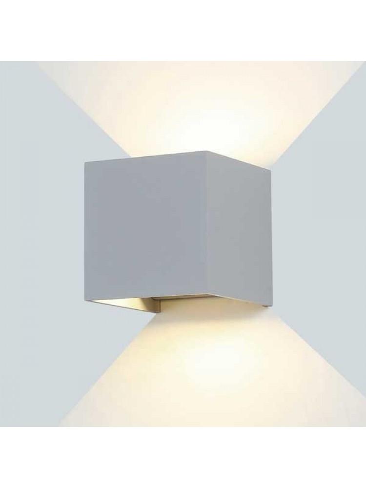 Sieninis lauko šviestuvas IP54, kvadratinis, pilku korpusu