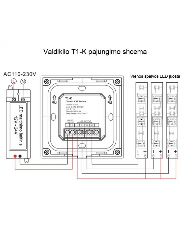 LED vienos spalvos valdiklis T1-K