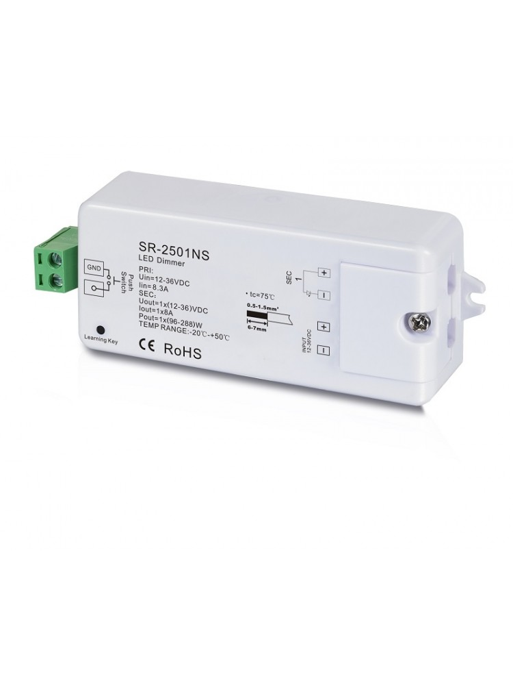 LED juostų valdymo sistemos imtuvas 12-36V 1x8A vienos spalvos Easy-RF serija, Sunricher