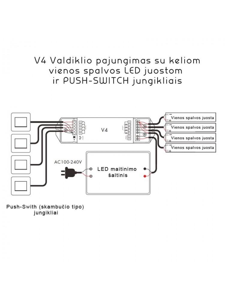 LED RGBW  juostų valdiklis V4 4x5A
