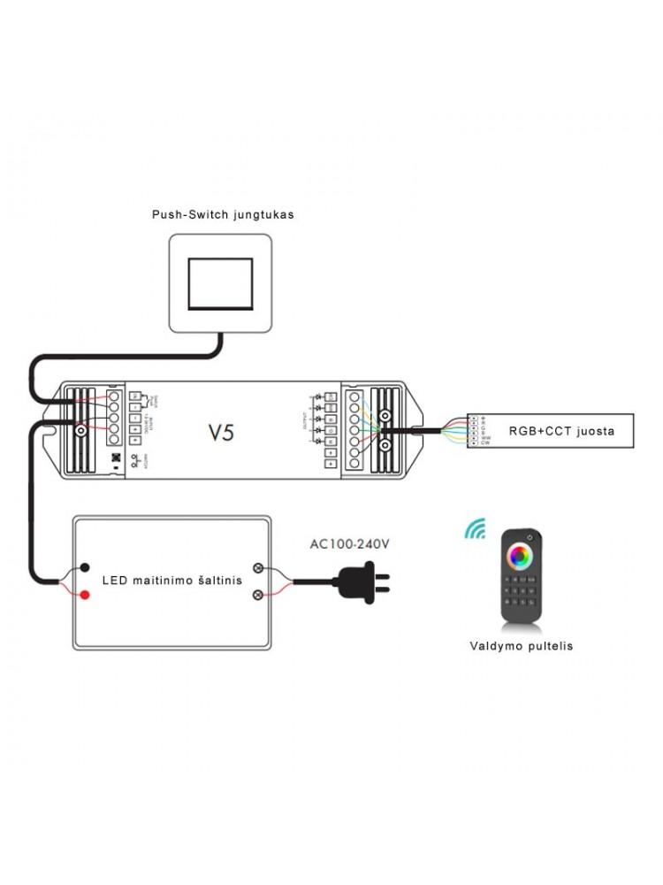 LED RGBW+WW LED juostų valdiklis V5