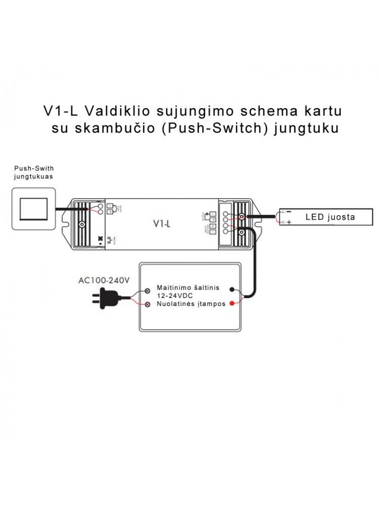 LED vienos spalvos valdiklis V1-L 15A