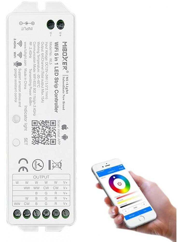 LED RGB+CCT  daugiafunkcinis išmanusis LED juostų valdiklis, valdomas nuotoliniu RF pulteliu, programėle, WIFI