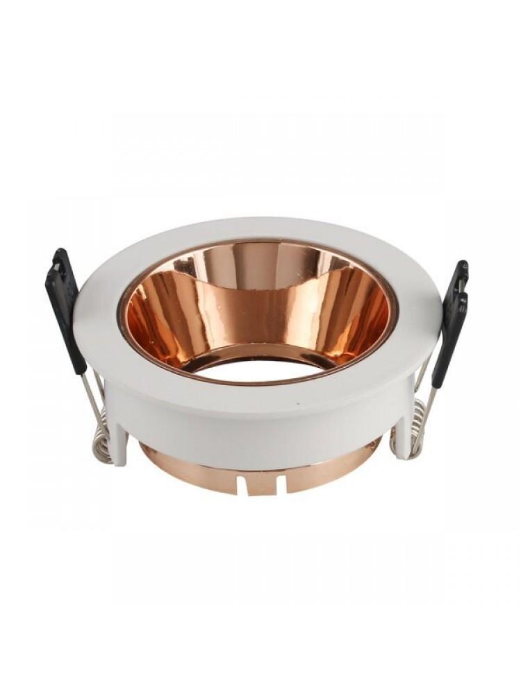 Įleidžiamas paviršinis šviestuvas , apvalus, GU10, baltas/ auksto sp. , 79x32 mm