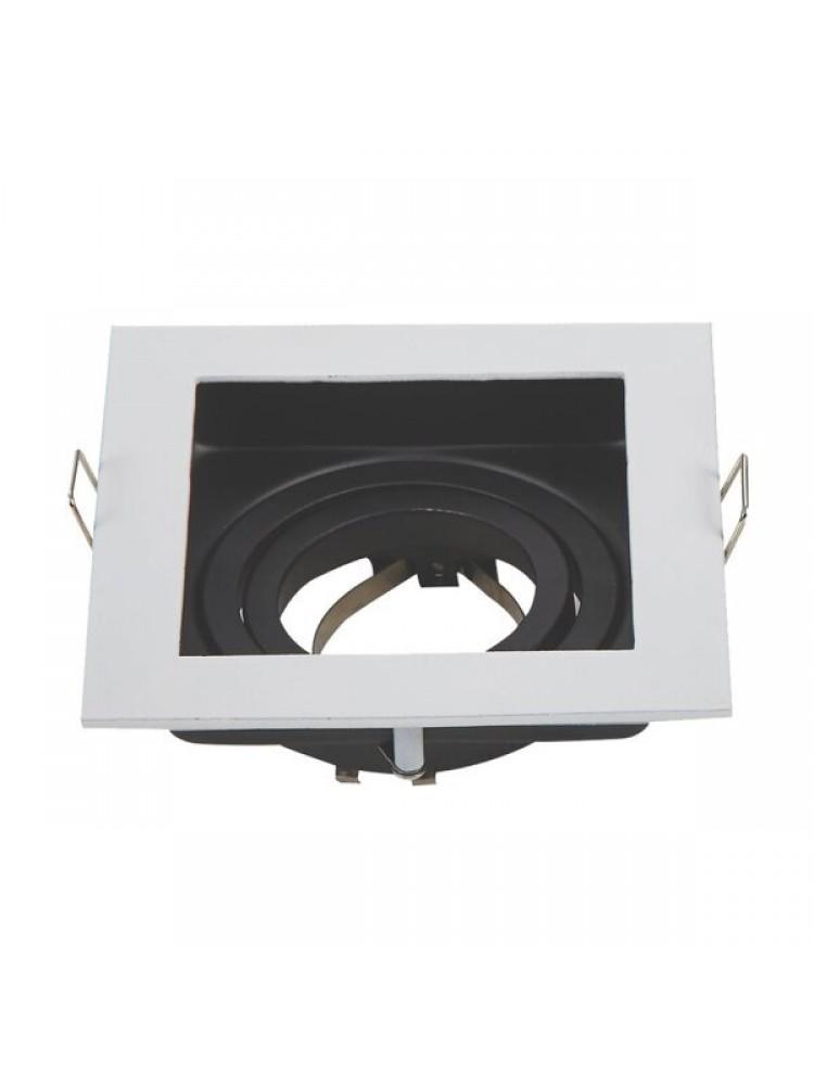 Įleidžiamas paviršinis šviestuvas , kvadratinis, GU10, balta/juodas, 100x100x45 mm