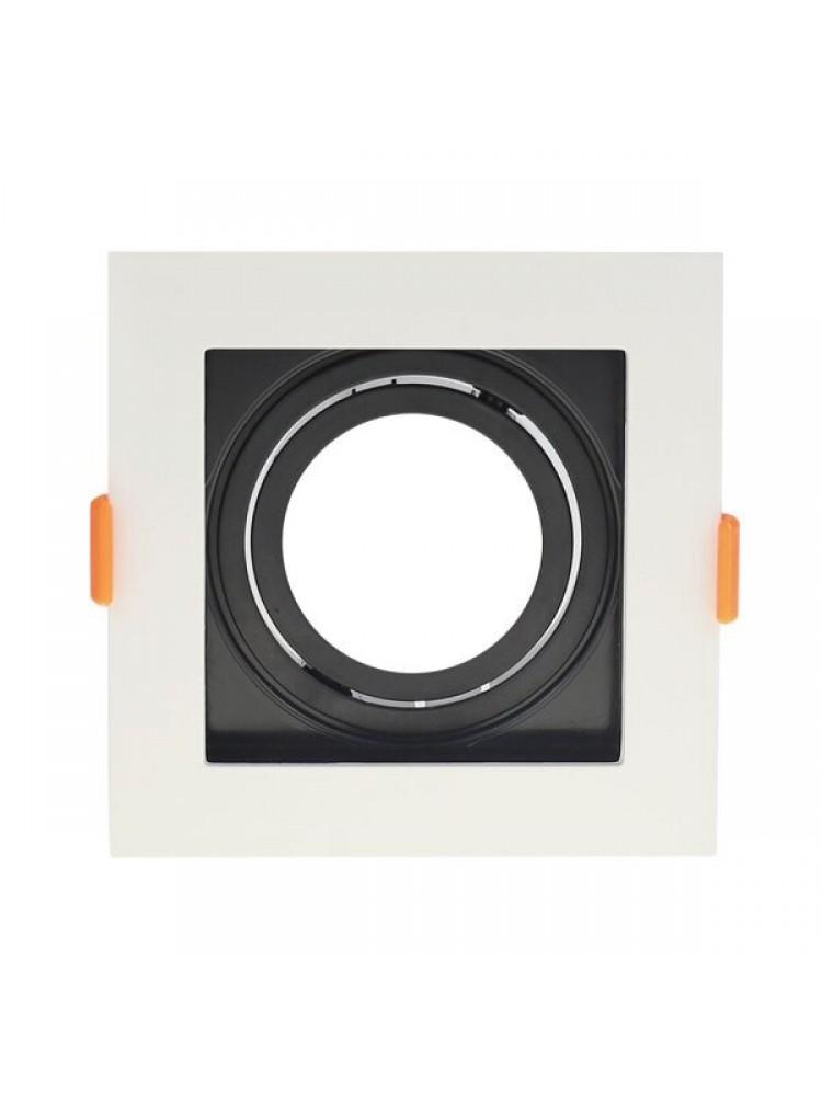 Įleidžiamas paviršinis šviestuvas , kvadratinis, GU10, balta/juodas, 102x102x42 mm