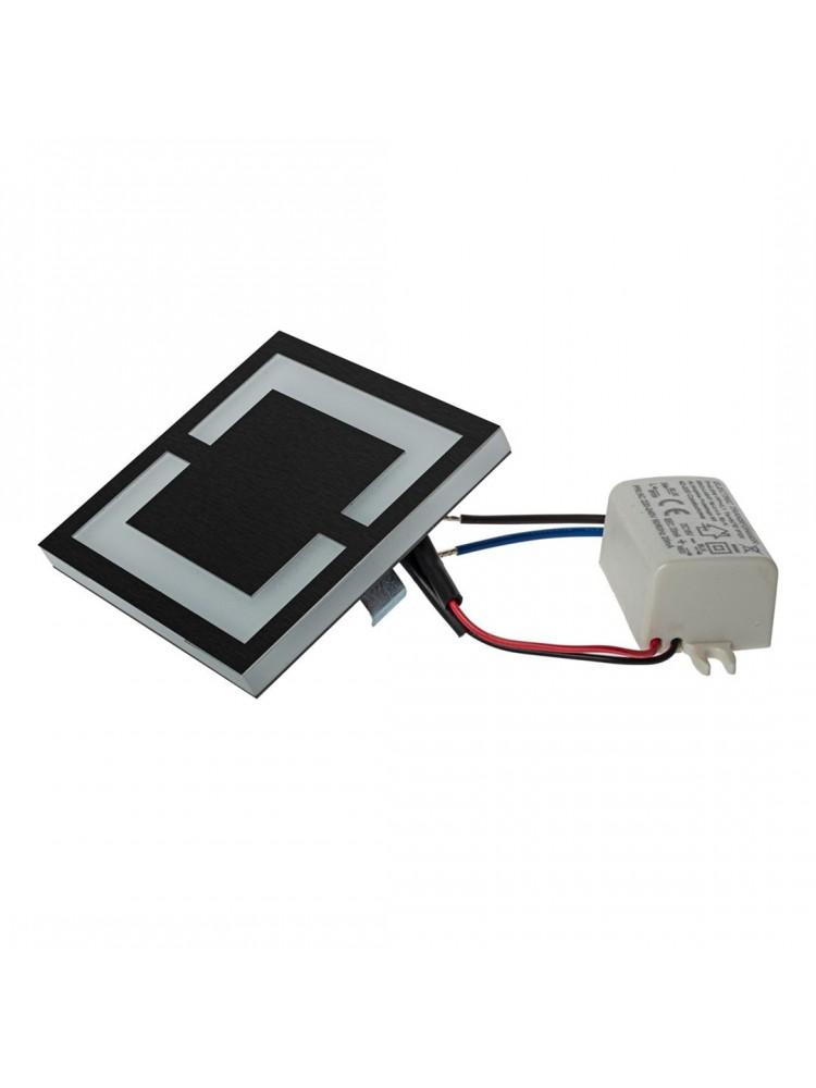 Laiptų pakopų LED šviestuvas  QUADRO JUODA 0,6W