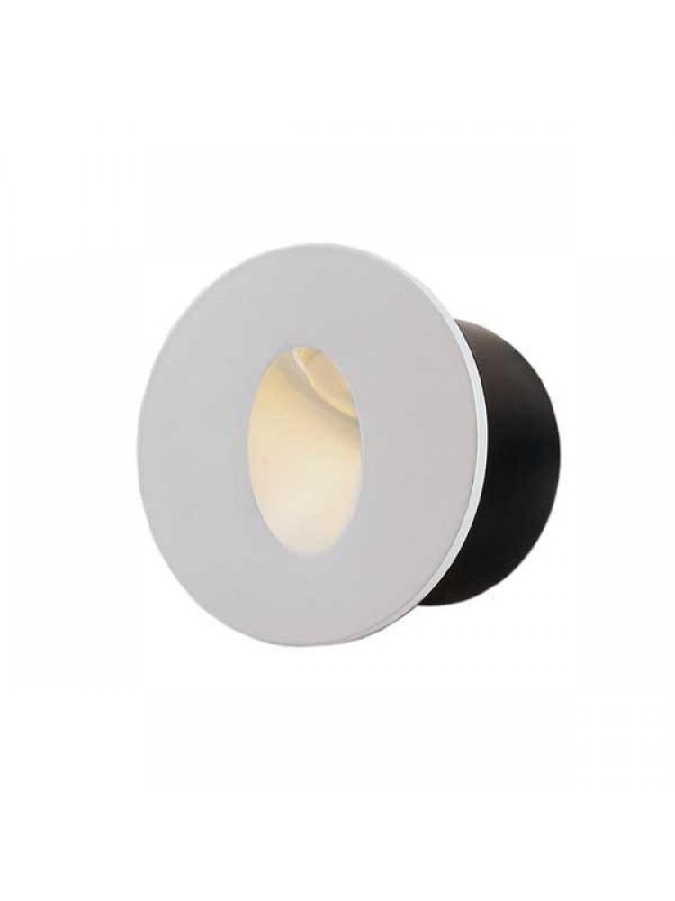 Laiptų pakopų LED šviestuvas , apvalus , 3W, baltas